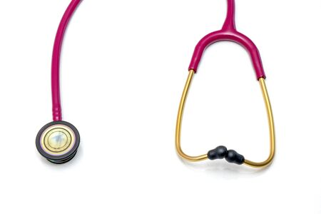 Red stethoscope on a white background.Concept of medicine and health.Copy space.