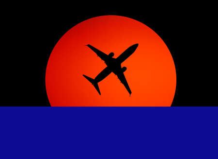 black silhouette of the plane against the orange sun in the dark sky Zdjęcie Seryjne