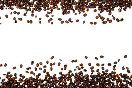 Coffee beans isolated on white background with copyspace for text. Coffee background or texture concept