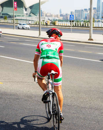 Baku, Azerbaijan, July 25, 2019-15 youth and sports festival Cycling competitions. Cyclist on the road, on the street in Baku.