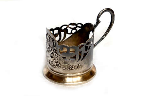 Iron, silver, chrome Cup holder on white background.