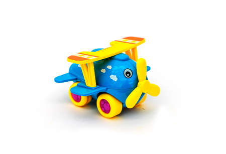 blue childrens toy small airplane on white background.