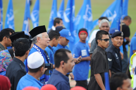 nomination: PEKAN, MALAYSIA - APRIL 20 : Prime minister Mohd Najib Abdul Razak during nomination day on April 20, 2013 in Pekan, Pahang, Malaysia. Malaysian Prime Minister dissolved Parliament on April 3rd.