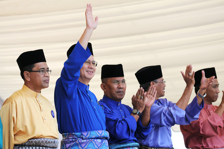 bogey: PEKAN, MALAYSIA - APRIL 20 : Prime minister Mohd Najib Abdul Razak during nomination day on April 20, 2013 in Pekan, Pahang, Malaysia. Malaysian Prime Minister dissolved Parliament on April 3rd.