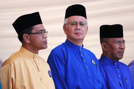 pekan: PEKAN, MALAYSIA - APRIL 20 : Prime minister Mohd Najib Abdul Razak during nomination day on April 20, 2013 in Pekan, Pahang, Malaysia. Malaysian Prime Minister dissolved Parliament on April 3rd.