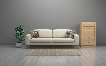 Realistic Mockup of 3D Rendered of Interior of Modern Living Room with Sofa - Couch and Table