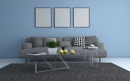 3D Realistic Mockup of living room Interior