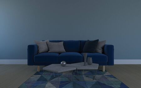Realistic Mockup of 3D Rendered of Interior of Modern Living Room with Sofa - Couch and Table Foto de archivo