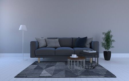 Realistic Mockup of 3D Rendered of Interior of Modern Living Room with Sofa - Couch and Table Фото со стока