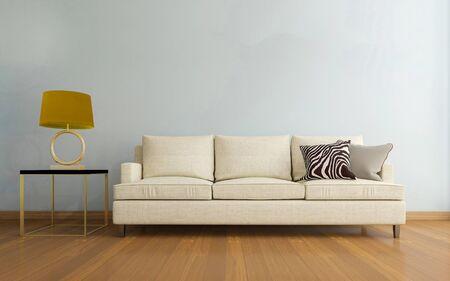 Realistisches 3D-Mockup des Wohnzimmerinnenraums Standard-Bild