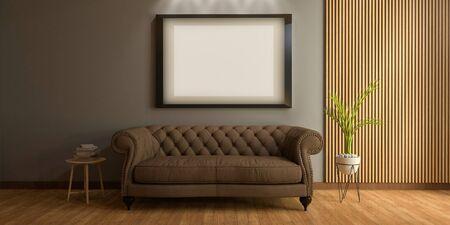 3D Realistic Mockup of living room Interior