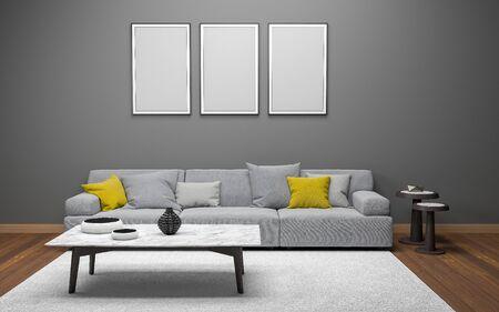 Maqueta realista 3D del interior de la sala de estar