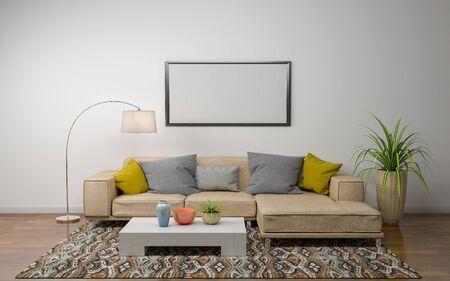 Rendering 3D dell'interno di un soggiorno moderno con divano - divano e tavolo