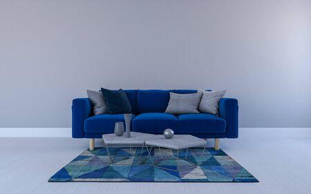 Realistyczna makieta 3D renderowana wnętrza nowoczesnego salonu z sofą - kanapą i stołem