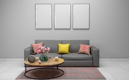 Realistic Mockup of 3D Rendered of Interior of Modern Living Room with Sofa - Couch and Table Stock Photo
