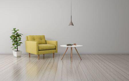 Realistische mockup van 3D-weergave van interieur van moderne woonkamer met bank - bank en tafel Stockfoto