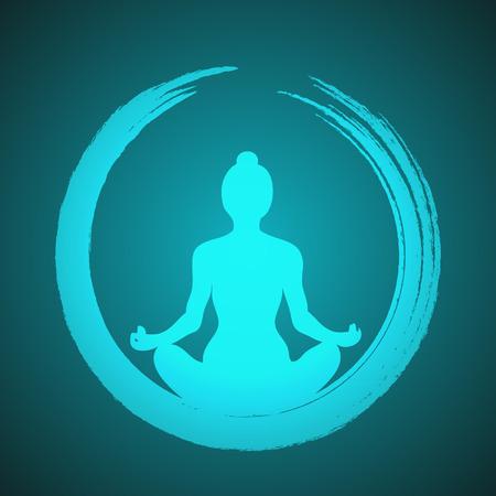 circulo de personas: Mujer que hace yoga con el c�rculo del zen