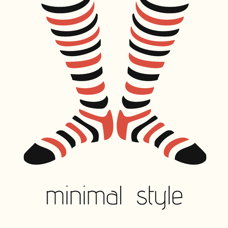 3d om: Vector Illustration Minimal Style Striped Socks