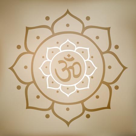 Vector Illustration Lotus Mandala with Om Symbol