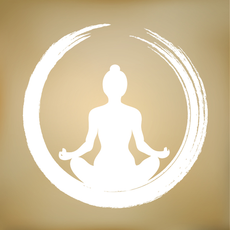meditating: Vector Illustration Girl Meditating In Zen cirlce