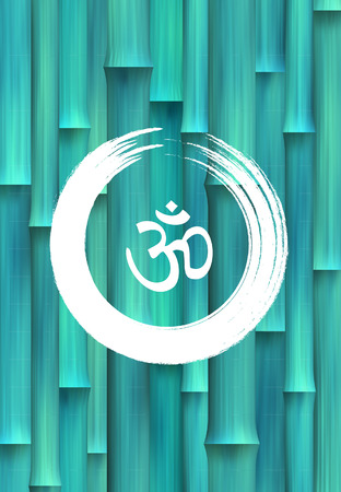 3d om: And Vector Bamboo Zen Circle with Om Symbol Illustration