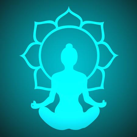 meditating: Vector Meditating Girl with Lotus Flower