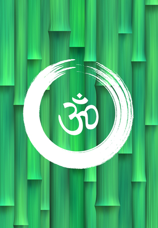 3d om: Vector Bamboo Forest Background with Om Symbol and Zen Circle Illustration