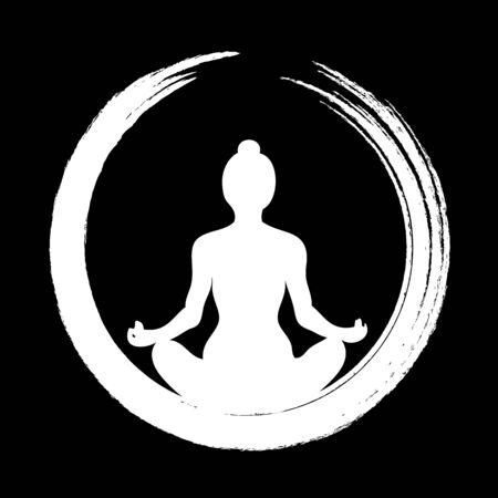 Vector Woman Doing Yoga avec Cercle Zen (Enso)