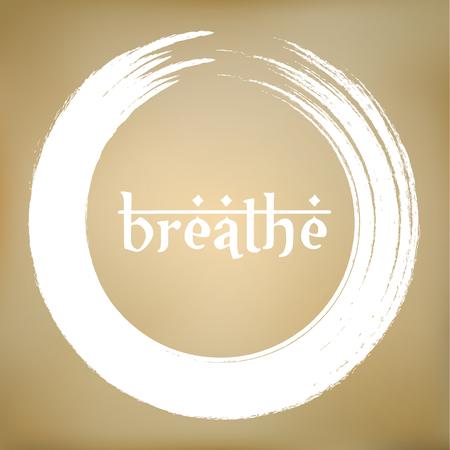 Vector Zen Circle Enso with Breathe Title
