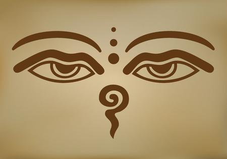 Vector Illustration Buddha Eyes Illustration