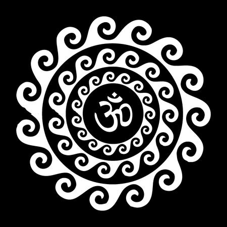 3d om: Vector Illustration wit Wave Mandala Om Symbol Illustration