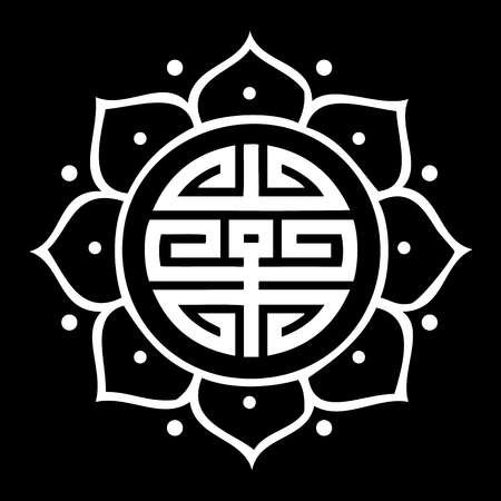Vector Shou Symbol in Lotus Flower