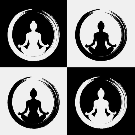 Vector Frau macht Yoga mit Zen-Kreis (Enso)