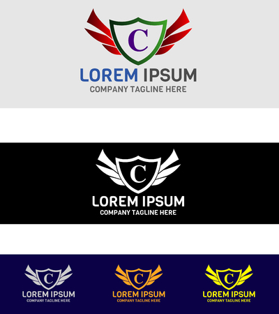 herald: C logo template design Illustration