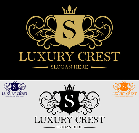 hotel resort: Premium Royal and Luxury Crest Logo Design. Suitable for Spa, beauty Center, Real Estate, Hotel, Resort, House logo Illustration