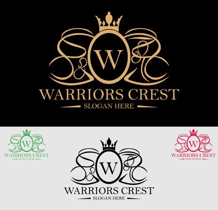 プレミアム ロイヤルや高級家紋ロゴのデザイン。スパ、ビューティー センター、リアル不動産、ホテル、リゾート、住宅のロゴに適しています。  イラスト・ベクター素材