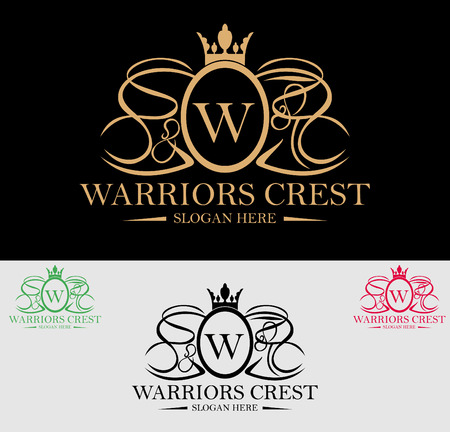 coat of arms  shield: Premium Royal and Luxury Crest Logo Design. Suitable for Spa, beauty Center, Real Estate, Hotel, Resort, House logo Illustration