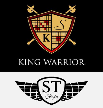 king crown laurel icon round: Set of vintage designer badges and labels