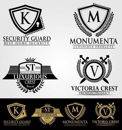 Heraldische Royal Luxury Crest Logos Stock Illustratie