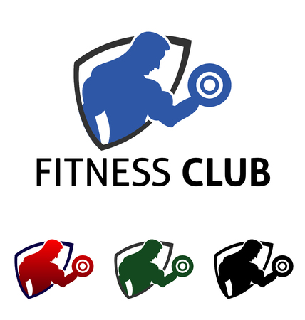 health and fitness: Fitness logo with muscled man and woman silhouettes. Man and woman holds dumbbells. Vector illustration Illustration