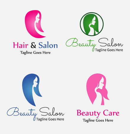 black wigs: Hair Salon Labels and Icons Illustration