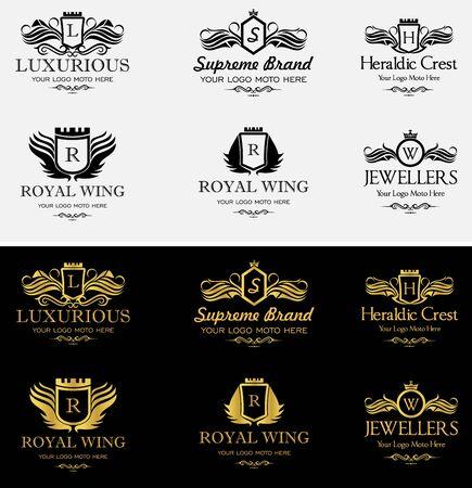 Stel Luxe sjabloon bloeit kalligrafische elegant ornament lijnen. Bedrijfsteken, identiteit voor Restaurant, Royalty, Boutique, Hotel, heraldisch, sieraden, mode en andere illustratie Stock Illustratie