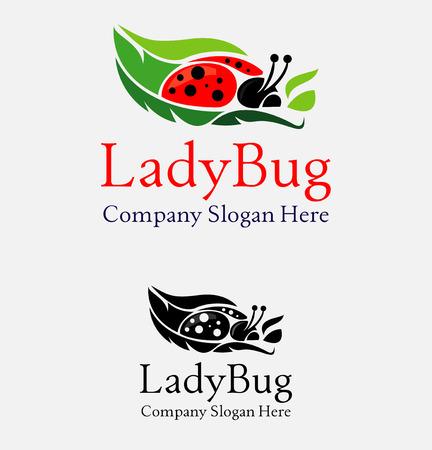 simple logo: Beautiful red ladybug flight icon simple elements logo Illustration