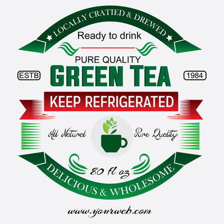 Green tea vector design template. The sign is in Chinese or Japanese style for cafes, shops and restaurants.