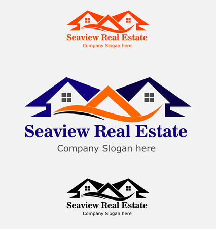 modern house: Real Estate House Logo. Group of houses Illustration