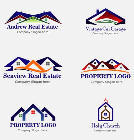 house logo: Real Estate House Logo. Group of houses Illustration