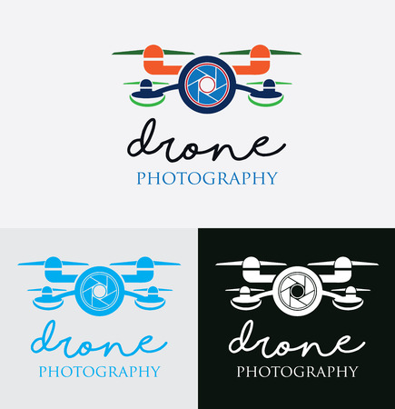 A modern logo template with a shutter  camera in the middle of a drone! The logo is fully vector and easy to edit. All text and colors are easily editable.