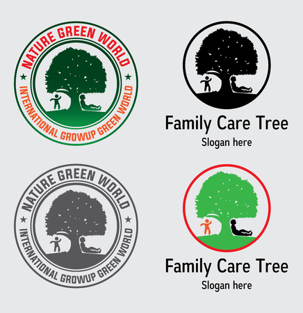 Tree Family Care. Familytree concept icoon logo sjabloon
