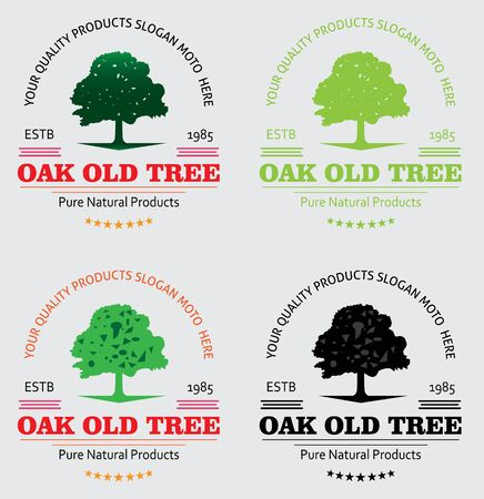 Tree Oak Logo, this logo symbolize a protection, peace,tranquility, growth, and care or concern to development, vector logo illustration Illustration