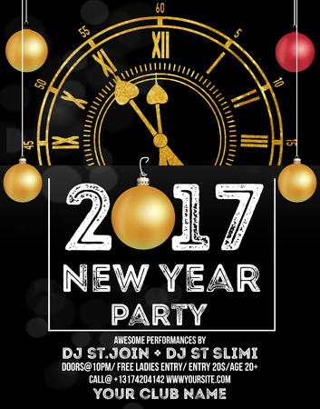 nye: New Year Party Beautiful holiday background with golden Clock 2017 NYE (New Year Eve), hanging xmas balls Illustration